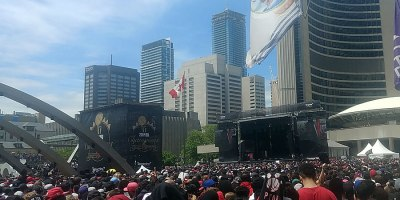 With Toronto's iconic city hall and the skyline of the City Centre as a backdrop, the Toronto Raptors welcomed over 2 million revelers to Nathan Phillips Square to celebrate the 2018-19 NBA championship on 17 June 2019.Photo by Kim Elliott.