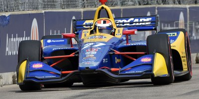 Alexander Rossi approaches Turn 8 at the Belle Isle road course in Detroit during IndyCar practice on 31 May 2019. Rossi had the fastest lap of the day and will lead Group 2 qualifying for Dual 1 on June 1.Photo by Ian Shalapata.