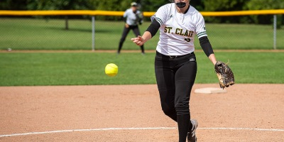 First year St Clair pitcher Hannah DesRosiers delivers to the Seneca Sting during a relief appearance on 22 September 2018. DesRosiers had 4 innings of work, giving up 1 run on 3 hits and striking out three in an 8-1 St Clair win.Photo by John Skinner.