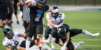 The WIndsor AKO Fratmen dropped Game 1 of the 2018 CJFL season 56-12 to the Hamilton Hurricanes at Alumni Stadium on 18 August.Photo by John Skinner.