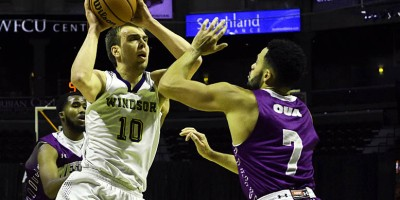 The Windsor Lancers hosted the Western Mustangs for an OUA men's basketball match at the WFCU Arena on 17 November 2018, as part of a double header with the Windsor Express. Windsor starter Anthony Zrvnar (10) threw up 9 points and 7 boards in 24 minutes.Photo by Ian Shalapata.