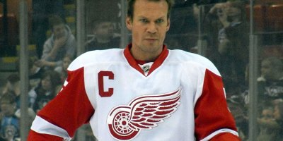 Nicklas Lidstrom warms up before a January 31, 2010 game between the Detroit Red Wings and Pittsburgh Penguins at Mellon Arena in Pittsburgh, PA.