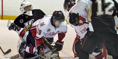 LaSalle Vipers Battisti goalie hockey vs Leamington Flyers Kyle Quick