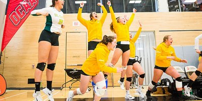 St Clair players leap for joy after a service ace captured their first medal in 21 years at the 2017-18 OCAA Women's Volleyball Championships in Scarborough, on 24 February 2018.Photo by Yvano Antonio.
