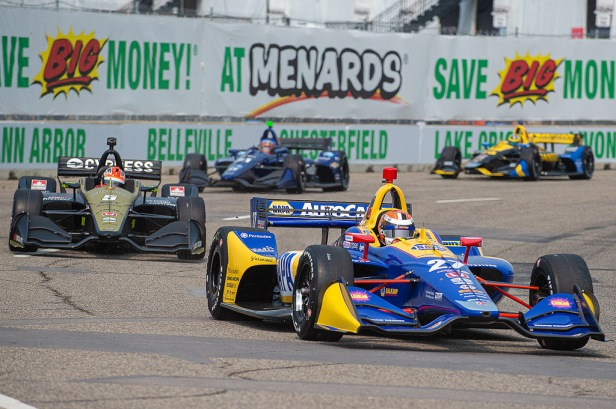 Alexander Rossi exits Turn 2 at the Belle Isle road course in Detroit during IndyCar practice on 31 May 2019. Rossi had the fastest lap of the day and will lead Group 2 qualifying for Dual 1 on June 1.Photo by John Skinner.