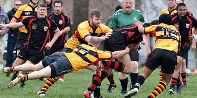 Rugby action between the Windsor Rogues and Detroit RFC at Farwell Field in Detroit during the Ambassador Cup, on 30 April 2016. Photo by Ian Shalapata.