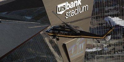 A US Customs and Border Protection, Air and Marine Operations, UH-60 Black Hawk helicopter flies over US Bank Stadium in advance of Super Bowl LII in Minneapolis, MN, on 29 January 2018.Photo by Glenn Fawcett/US Customs and Border Protection.
