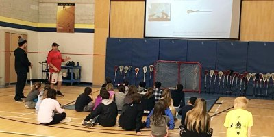 Leave Your Mark Lacrosse teaching students about the history of lacrosse and an important anti-bullying message.Photo courtesy of Economic Development Services, Municipality of Chatham-Kent.