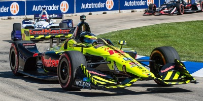 Racing action at the 2018 IndyCar competition on the Belle Isle Street Circuit in Detroit, Michigan, on 2 June 2018. John Skinner.