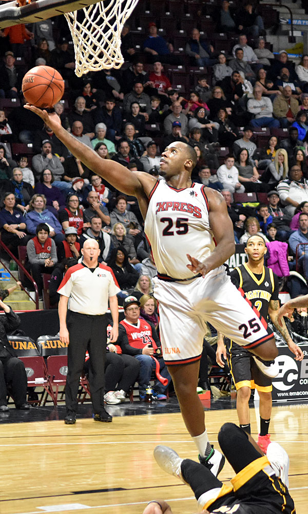 Former MSU star Derrick Nix lays up two of his 20 points en route to leading the Windsor Express to an 85-84 victory over the London Lightning on 28 December 2019.Ian Shalapata