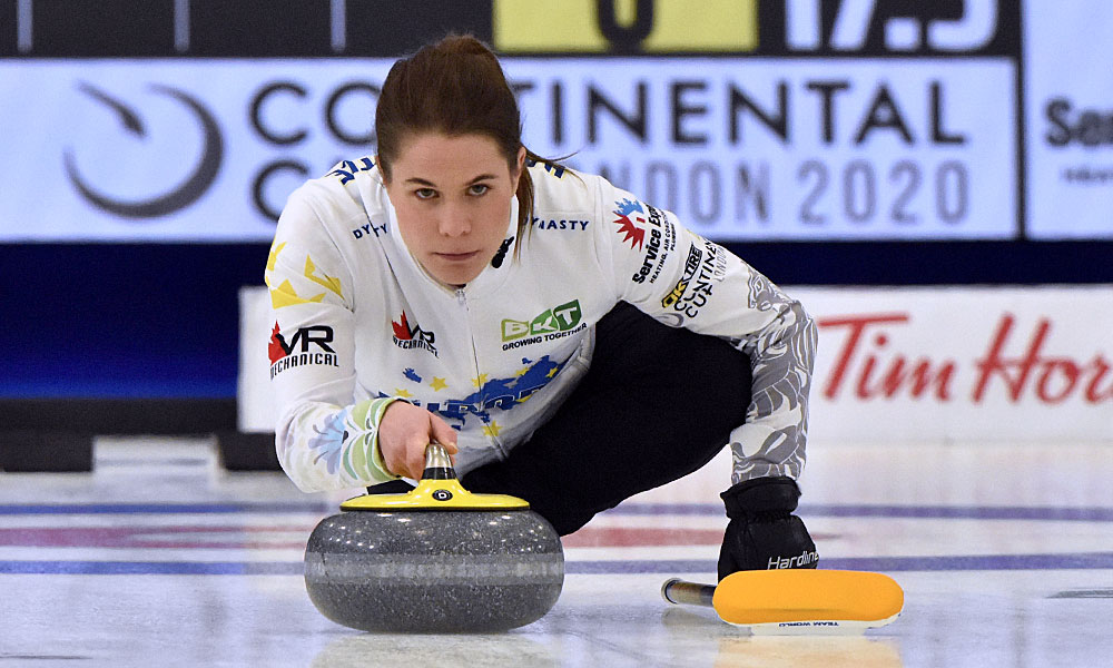 Anna Hasselborg at Curling Canada's 2020 Continental Cup as part of the Season of Champions at the Western Fair Sports Centre in London, Ontario, on 11 January 2020. Ian Shalapata.