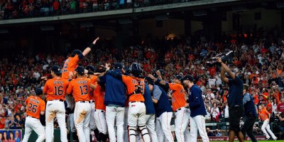 Houston Astros celebrate their Game 5 win in the 2019 World Series. Courtesy of the Houston Astros/Twitter.