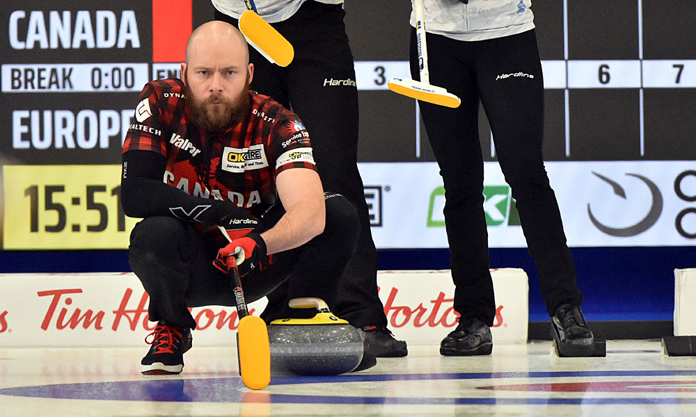 BJ Neufeld at Curling Canada's 2020 Continental Cup as part of the Season of Champions at the Western Fair Sports Centre in London, Ontario, on 11 January 2020. Ian Shalapata.