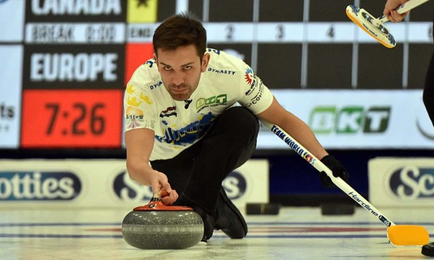 Pistol Pete, Switzerland's Peter de Cruz is all concentration during mixed doubles play. Photos from Curling Canada's 2020 Continental Cup as part of the Season of Champions at the Western Fair Sports Centre in London, Ontario, on 11 January 2020. Ian Shalapata.