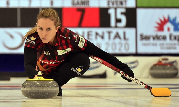 The 2017 world champion, Rachel Homan, deftly delivers her rock during mixed doubles play. Photos from Curling Canada's 2020 Continental Cup as part of the Season of Champions at the Western Fair Sports Centre in London, Ontario, on 11 January 2020. Ian Shalapata.
