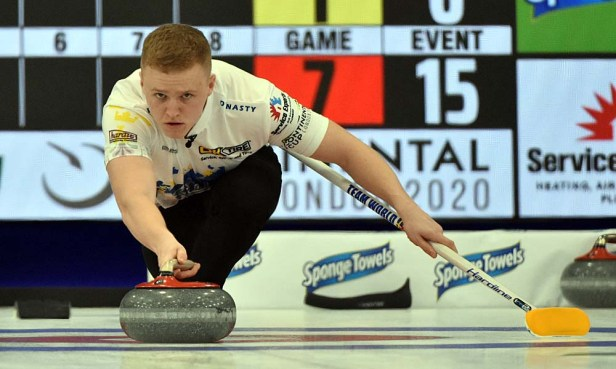 Bobbie Lammie of Scotland teamed with Eve Muirhead in defeating Rachel Homan and Ben Hebert 10-2. Photos from Curling Canada's 2020 Continental Cup as part of the Season of Champions at the Western Fair Sports Centre in London, Ontario, on 11 January 2020. Ian Shalapata.