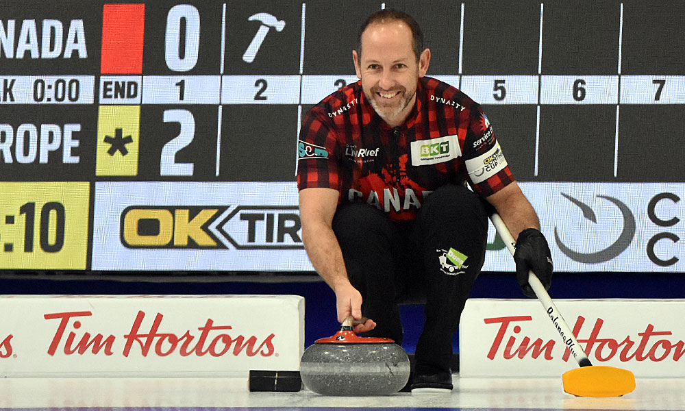 Brent Laing at Curling Canada's 2020 Continental Cup as part of the Season of Champions at the Western Fair Sports Centre in London, Ontario, on 11 January 2020. Ian Shalapata.