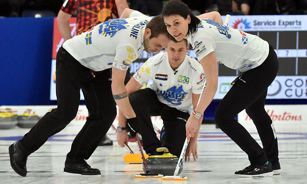 Valentin Tanner with shot, Sven Michel, and Esther Neuenschwander at Curling Canada's 2020 Continental Cup as part of the Season of Champions at the Western Fair Sports Centre in London, Ontario, on 11 January 2020. Ian Shalapata.