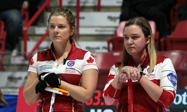 Canada's Sarah Wilkes (L) and Chelsea Carey watch the play at the 2020 Tournament of Hearts in Moose Jaw, SK, on 15 February. Canada dropped an 8-3 result to Northern Ontario in the first draw. (Photo by Rob Gandhu)