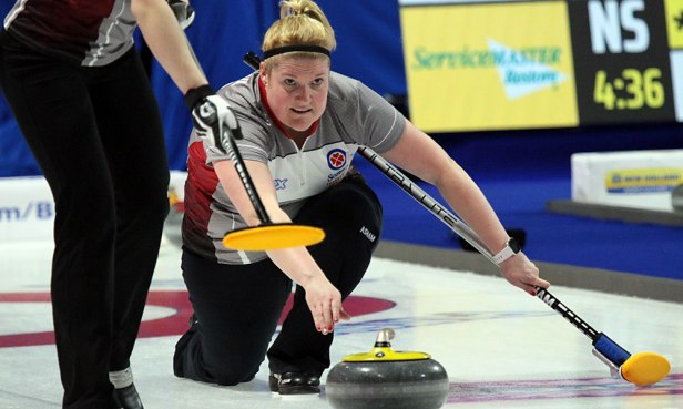 Shona Barbour is all concentration as she releases the rock during the Northwest Territories meeting with British Columbia in the 4th draw at the 2020 Tournament of Hearts. BC held on to an early lead for a 9-end 8-5 win. (Photo by Rob Gandhu)