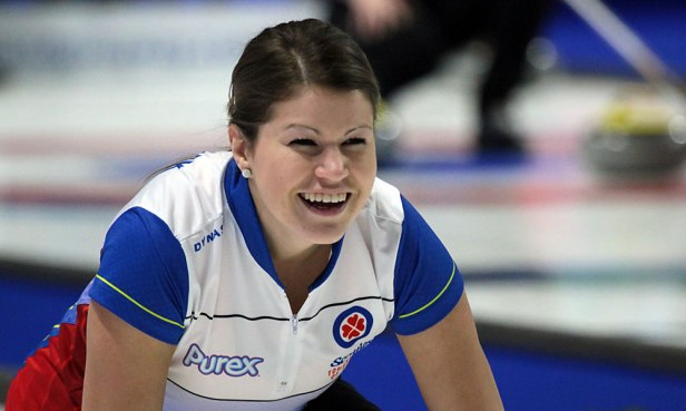 Ashley Klymchuk appears pleased with he shot during the 4th draw meeting between British Columbia and the Northwest Territories. Klymchuk and her team mates hand NWT their second defeat at the Tournament of Hearts by an 8-5 score. (Photo by Rob Gandhu)