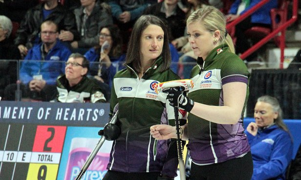 PEI skip Suzanne Birt (L) discusses strategy with team mate Marie Christianson during their 4th draw meeting against Nova Scotia. The foursome from PEI took a 9-end 7-3 victory for their second win in Pool B at the 2020 Tournament of Hearts. (Photo by Rob Gandhu)