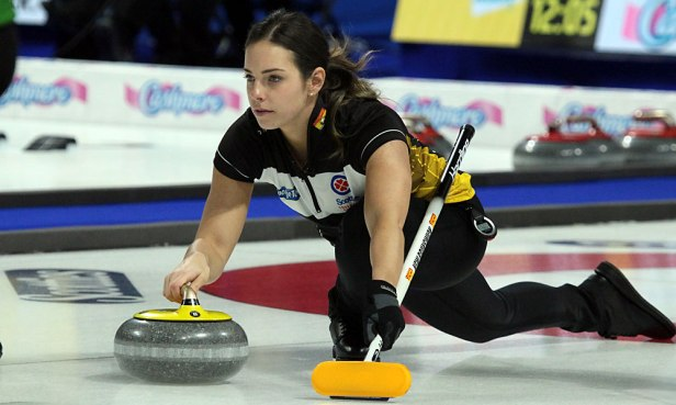 New Brunswick second Jillian Babin guides her rock during an out-turn at the 2020 Tournament of Hearts in Moose Jaw, SK. NB conceeded a 9-3 loss to Northern Ontario on 16 February. (Photo by Rob Gandhu)
